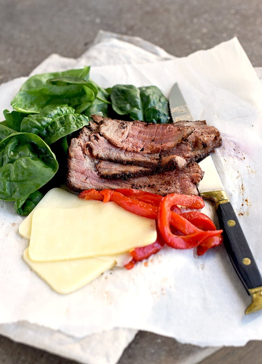 Steak Sandwich 4209 Web - London Broil Steak Sandwich with Roasted Peppers, Spinach and Cheese