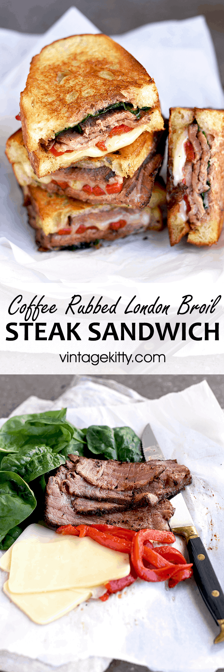 Steak Sandwich Pin - London Broil Steak Sandwich with Roasted Peppers, Spinach and Cheese