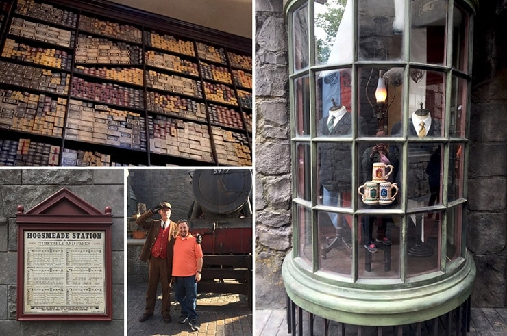 Collage of pictures from Harry Potter's Wizarding World at Universal Studios Hollywood