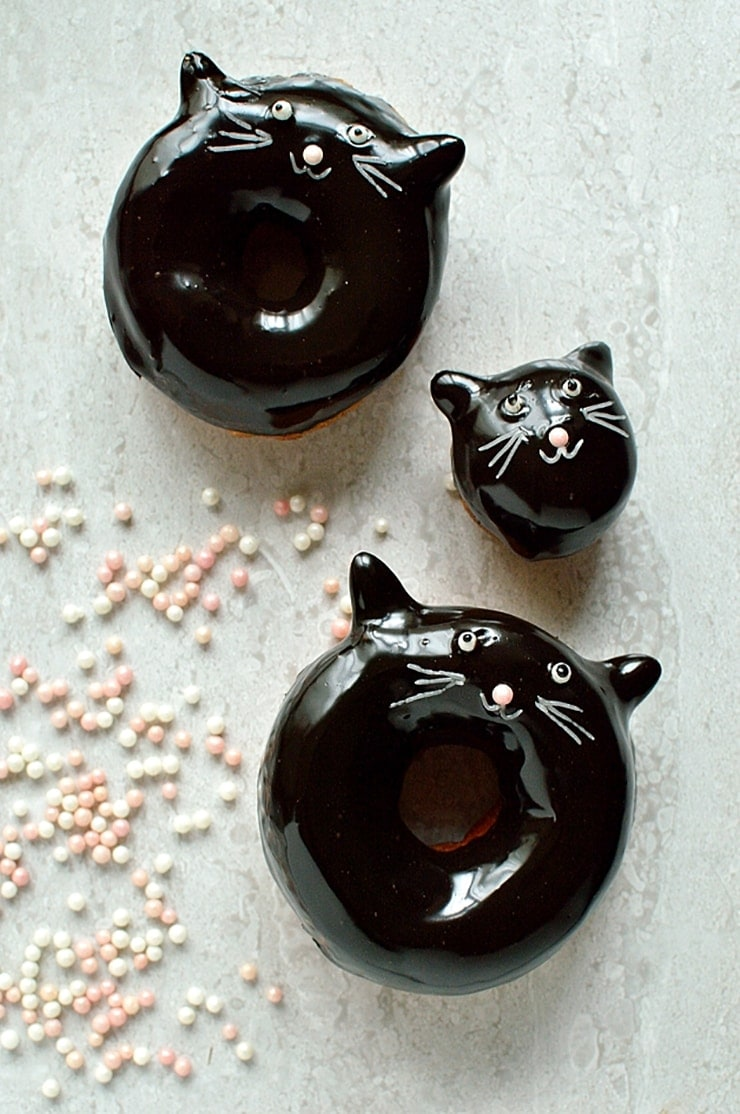 chocolate glazed fried yeasted doughnuts - Ghoulishly Good! </br>Halloween Party Recipes and Ideas