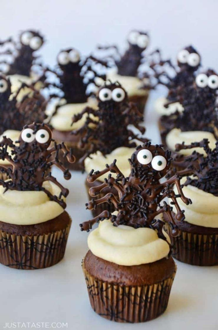 halloween cupcakes chocolate spiders 689x1040 - Ghoulishly Good! </br>Halloween Party Recipes and Ideas