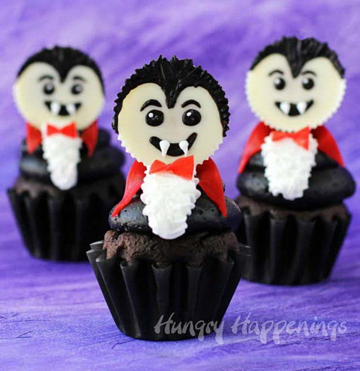 halloween cupcakes dracula vampire C - Ghoulishly Good! </br>Halloween Party Recipes and Ideas