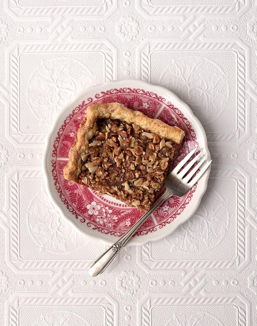 Piece of apple butter crumb slab pie