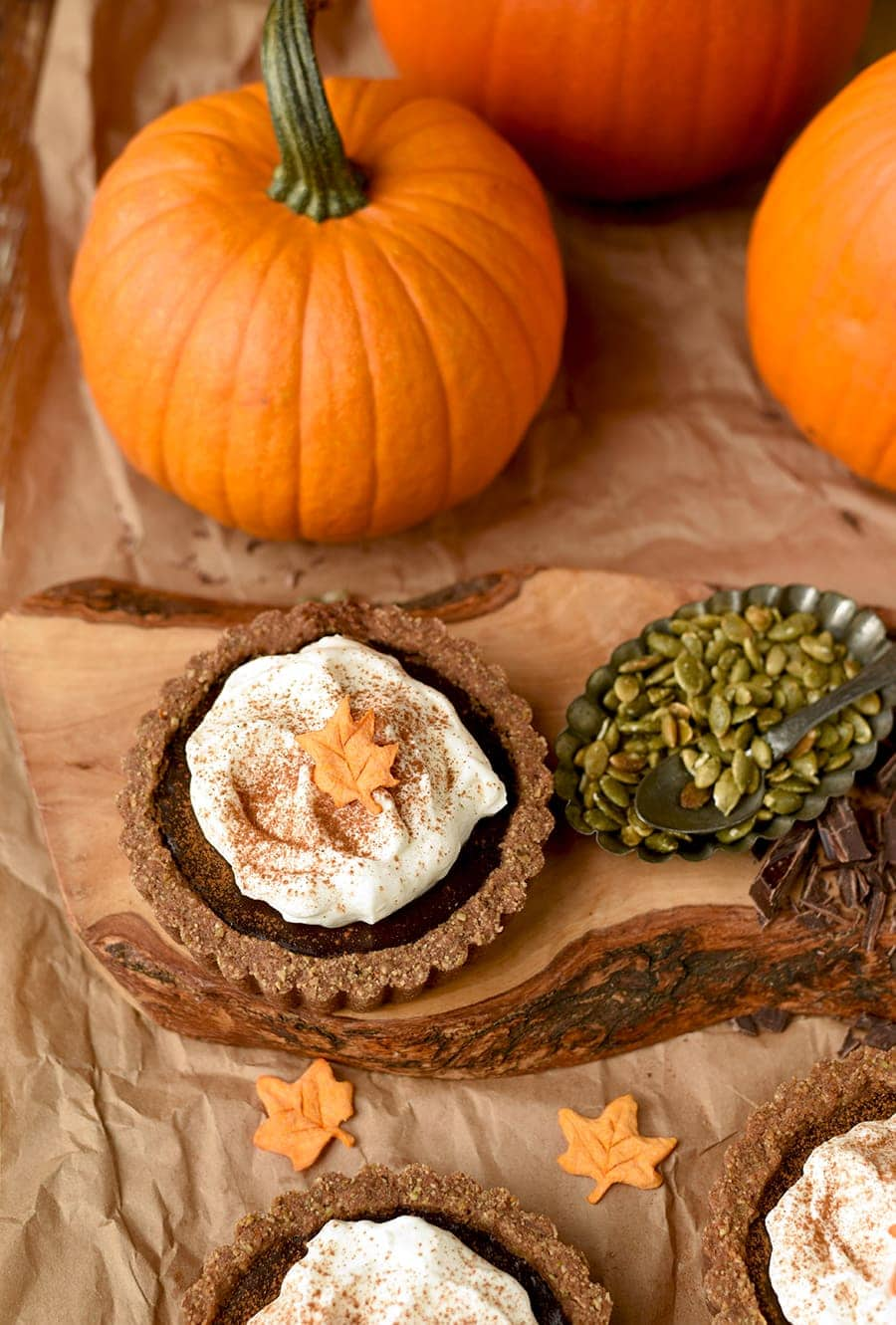 Pumkin Chocolate Tarts 6240 Web - Pumpkin Chocolate Tarts with Pepita Crust