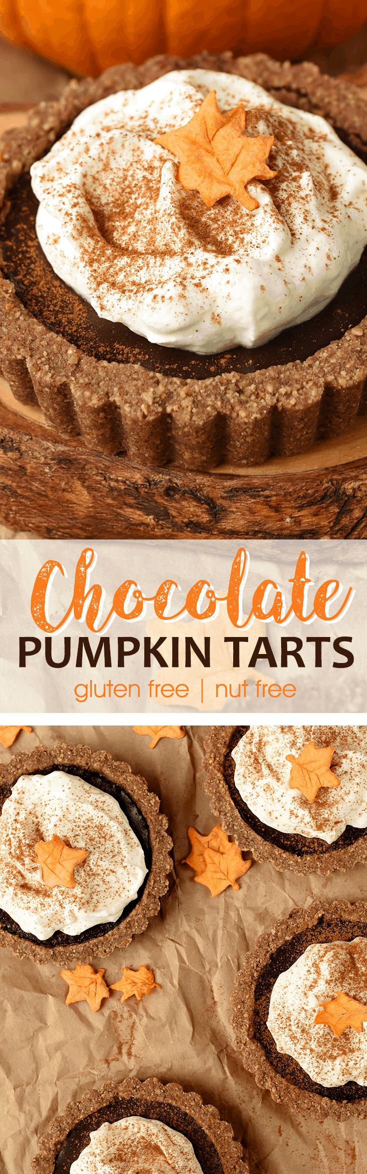 Pumpkin Chocolate Tarts with Pepita Crust are a delicious option for gluten-free, nut-free dinner guests this holiday season! #Thanksgiving #chocolate #pumpkin