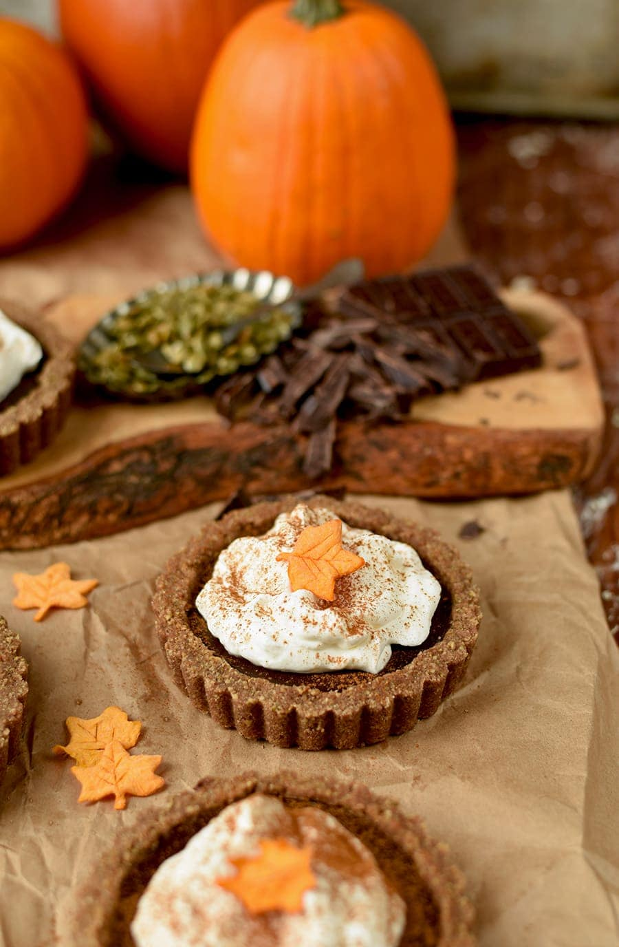 Pumpkin Chocolate Tarts 6163 Web - Pumpkin Chocolate Tarts with Pepita Crust