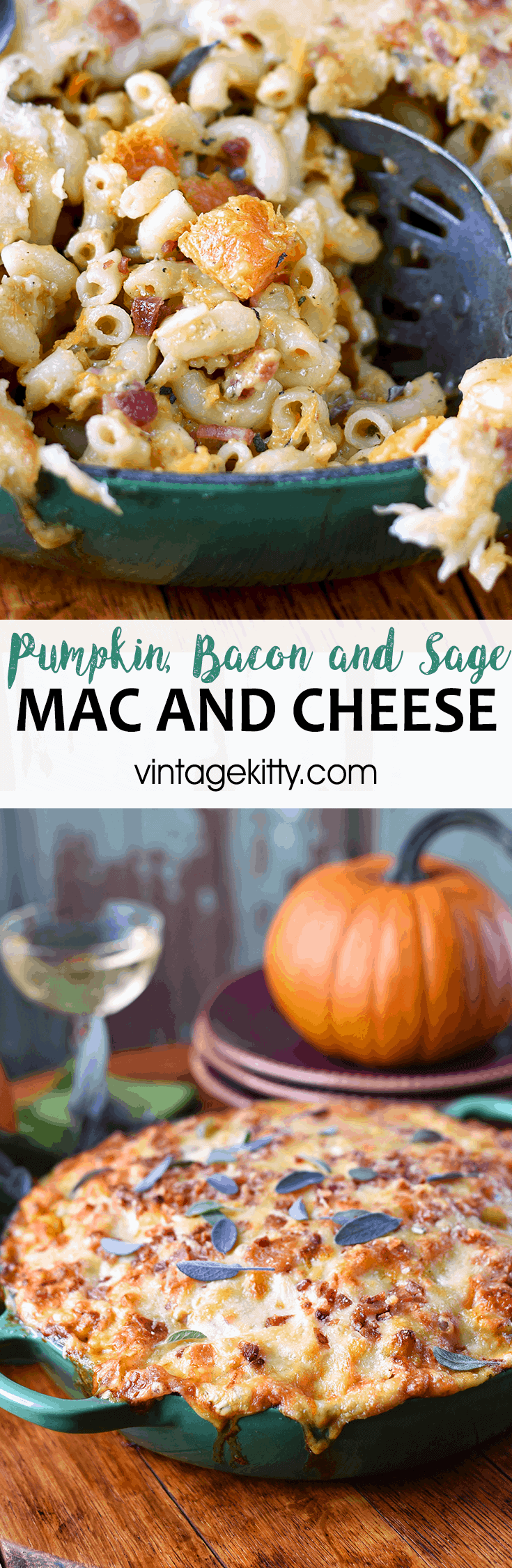 Pumpkin Mac and Cheese Pin - Pumpkin Mac and Cheese with Bacon and Fresh Sage