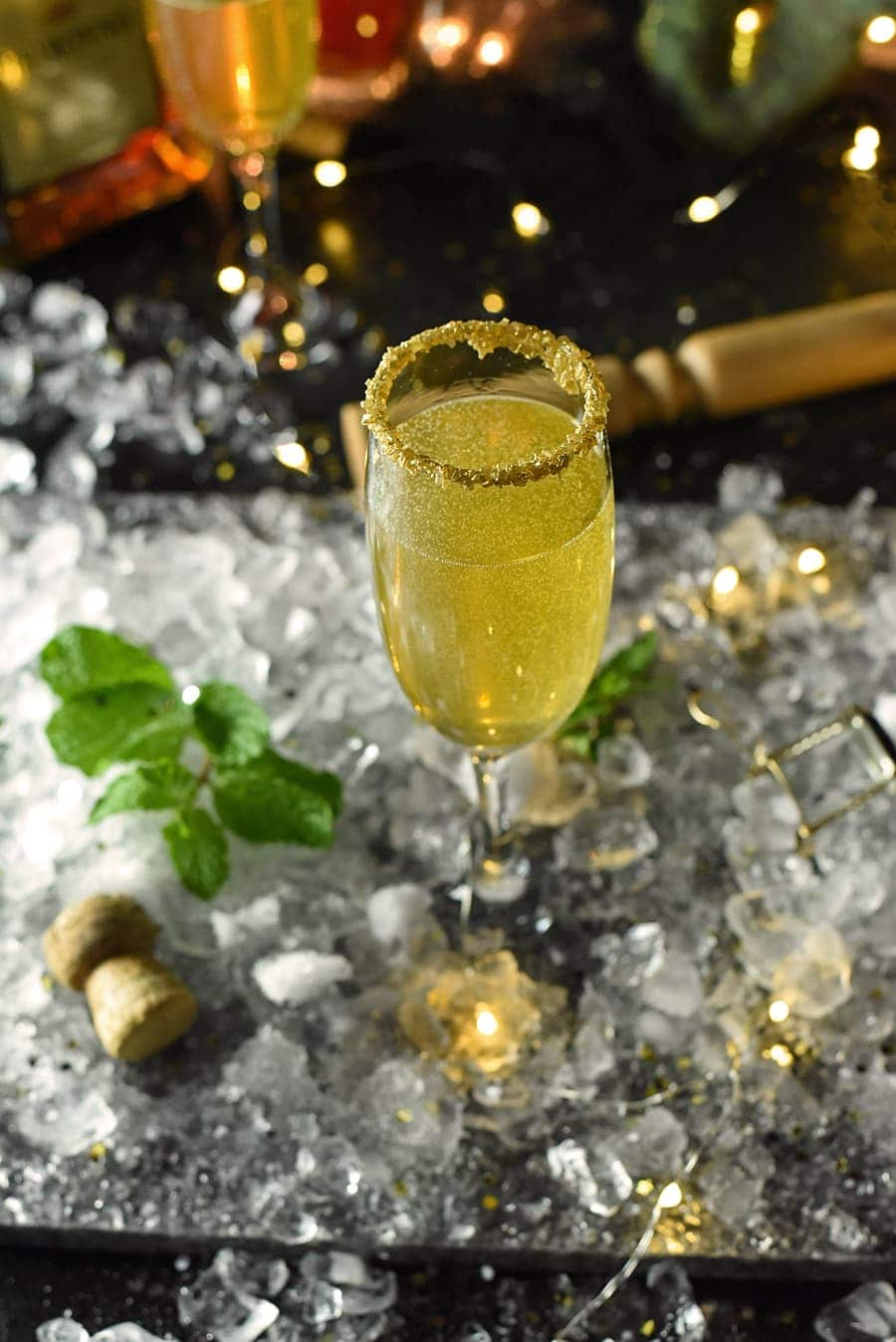 Champagne flute surrounded by ice