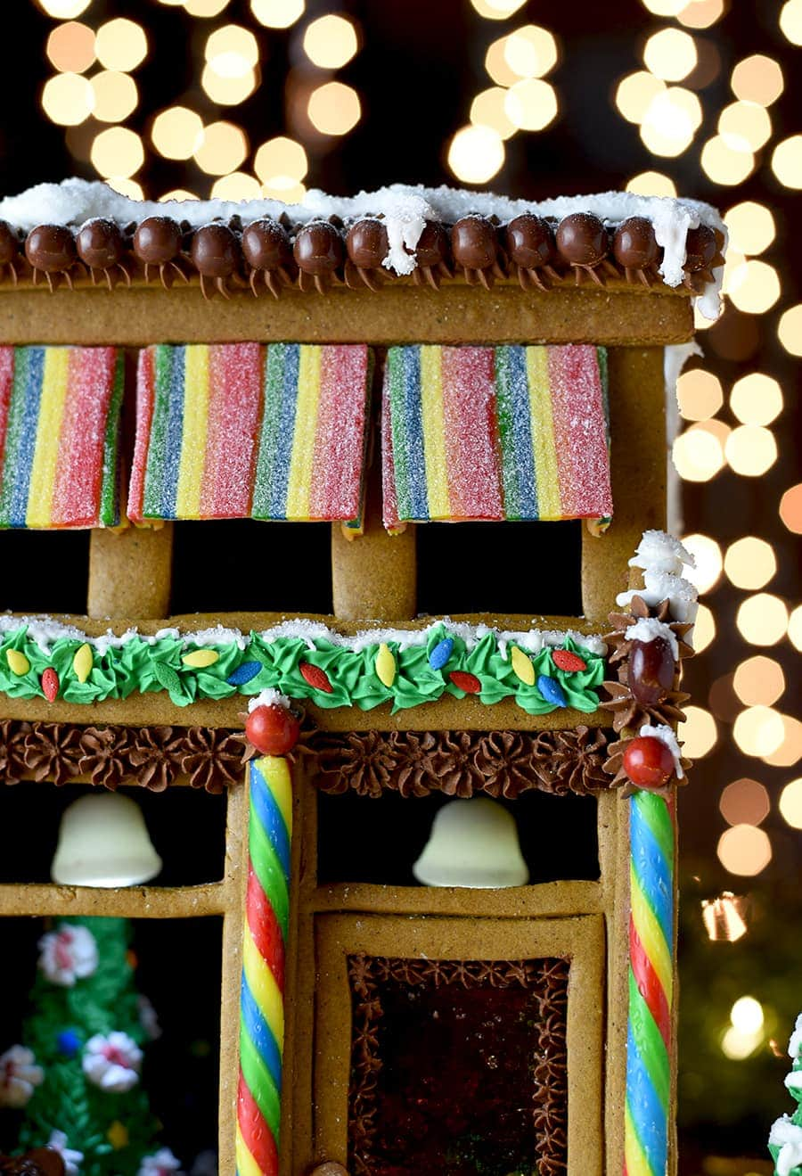 closeup of gingerbread house