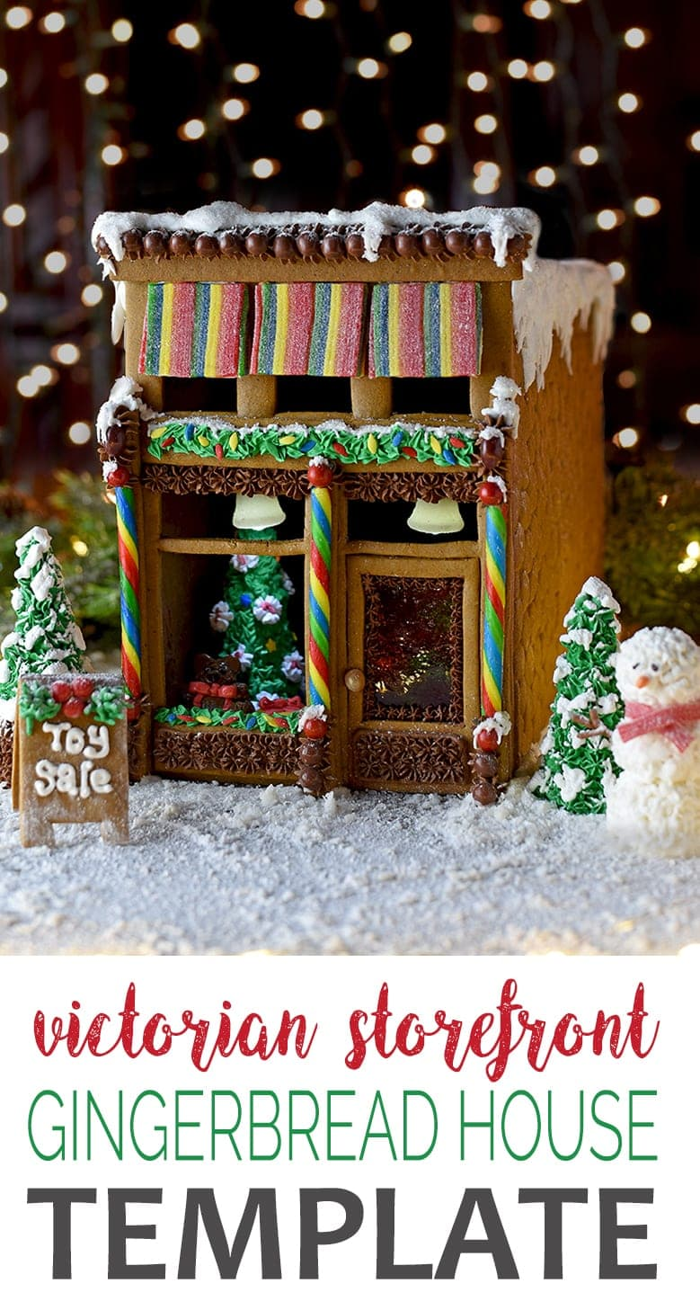 Gingerbread House Pin - Victorian Storefront Gingerbread House Template