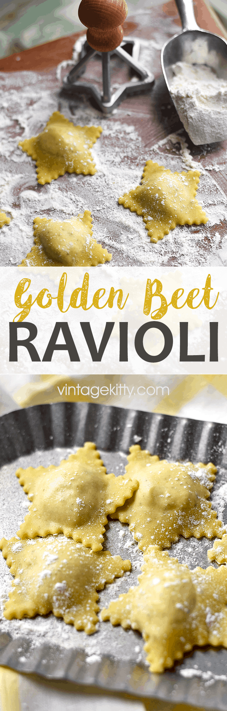 Festive and delicious Golden Beet Ravioli will be the star of your dinner or your party. This great recipe combines fresh, from scratch pasta, with an easy cheesy savory filling that makes enough for a party or to save for later. #fromscratch #ravioli #goldenbeets
