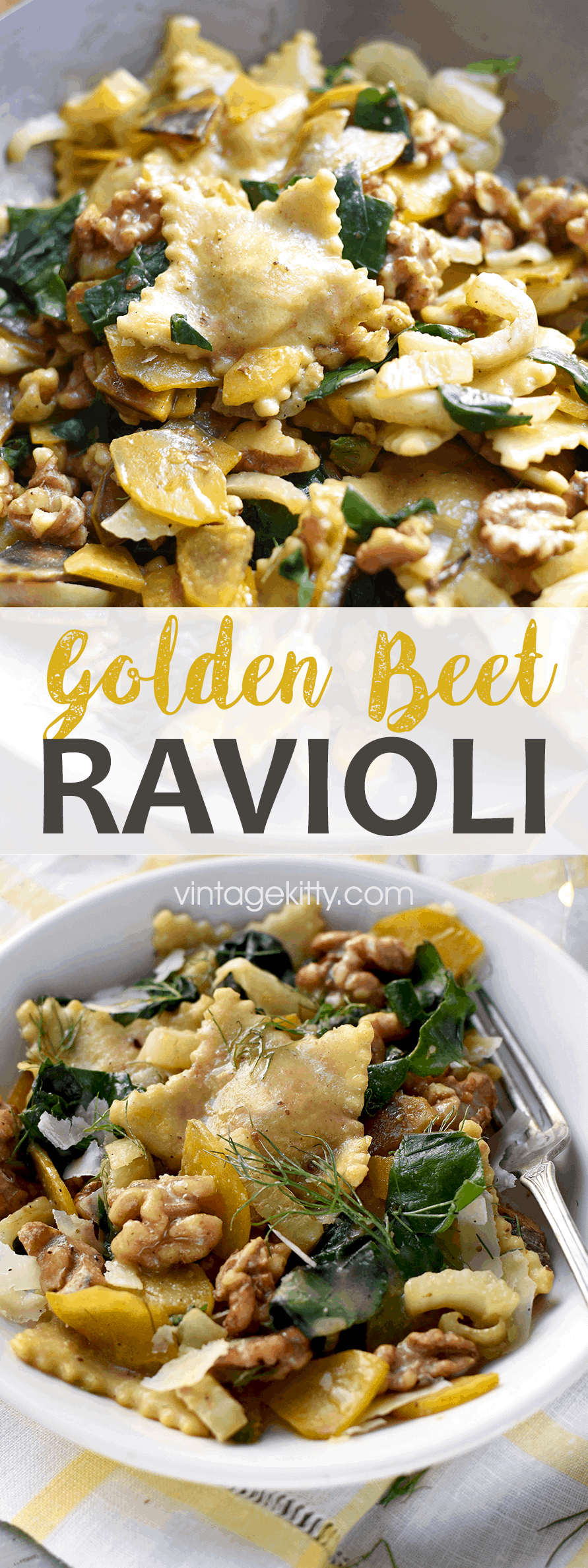 You'll love this homemade beet ravioli in brown butter! It's a stunning dish that's suitable for weeknights or your holiday dinner table. So many flavors! A simple brown butter orange sauce, fennel, walnuts and beet greens combine to make a meal you won't forget! #ravioli #beet #vegetarian #christmasrecipes #pastarecipe