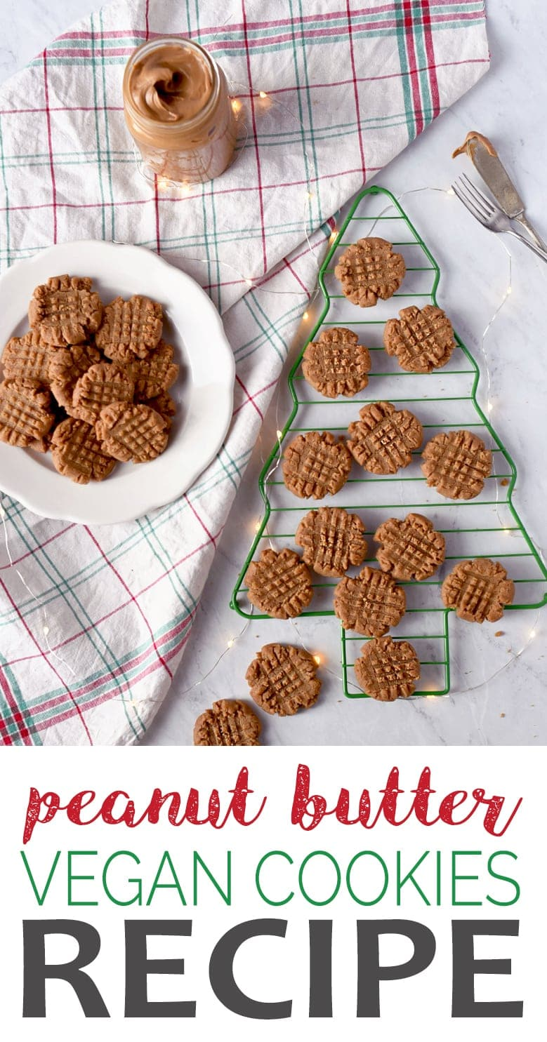 Vegan Peanut Butter Cookies that taste like the traditional recipe? Yes please! No one will know this peanut butter cookie recipe is vegan unless you tell them! Learn all the tricks we used to create this delicious cookie that's crisp on the outside, chewy inside and so nutty! #veganrecipe #peanutbuttercookies #peanutbutter #cookies #dessert #christmasrecipes