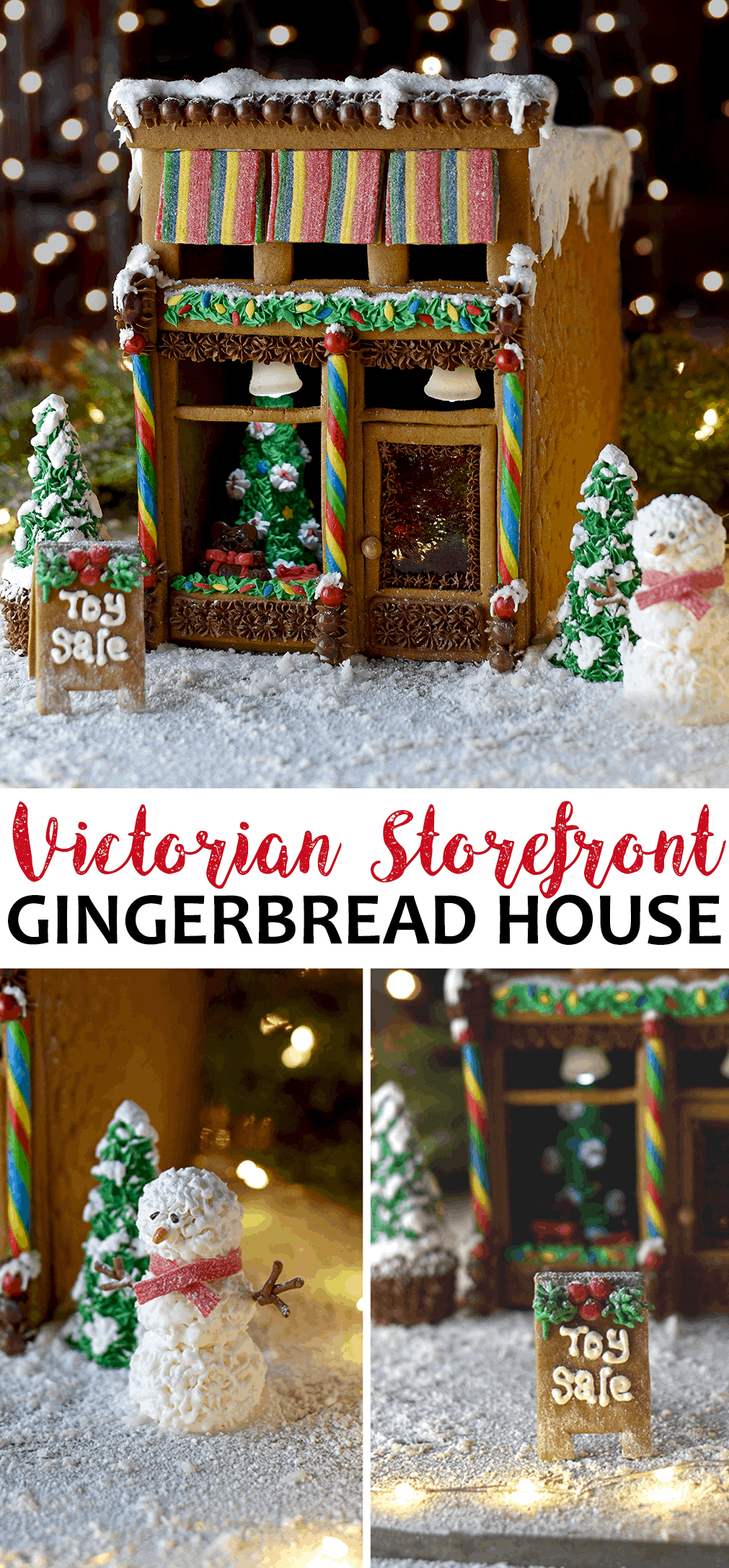 Victorian Storefront Gingerbread House Template Vintage Kitty