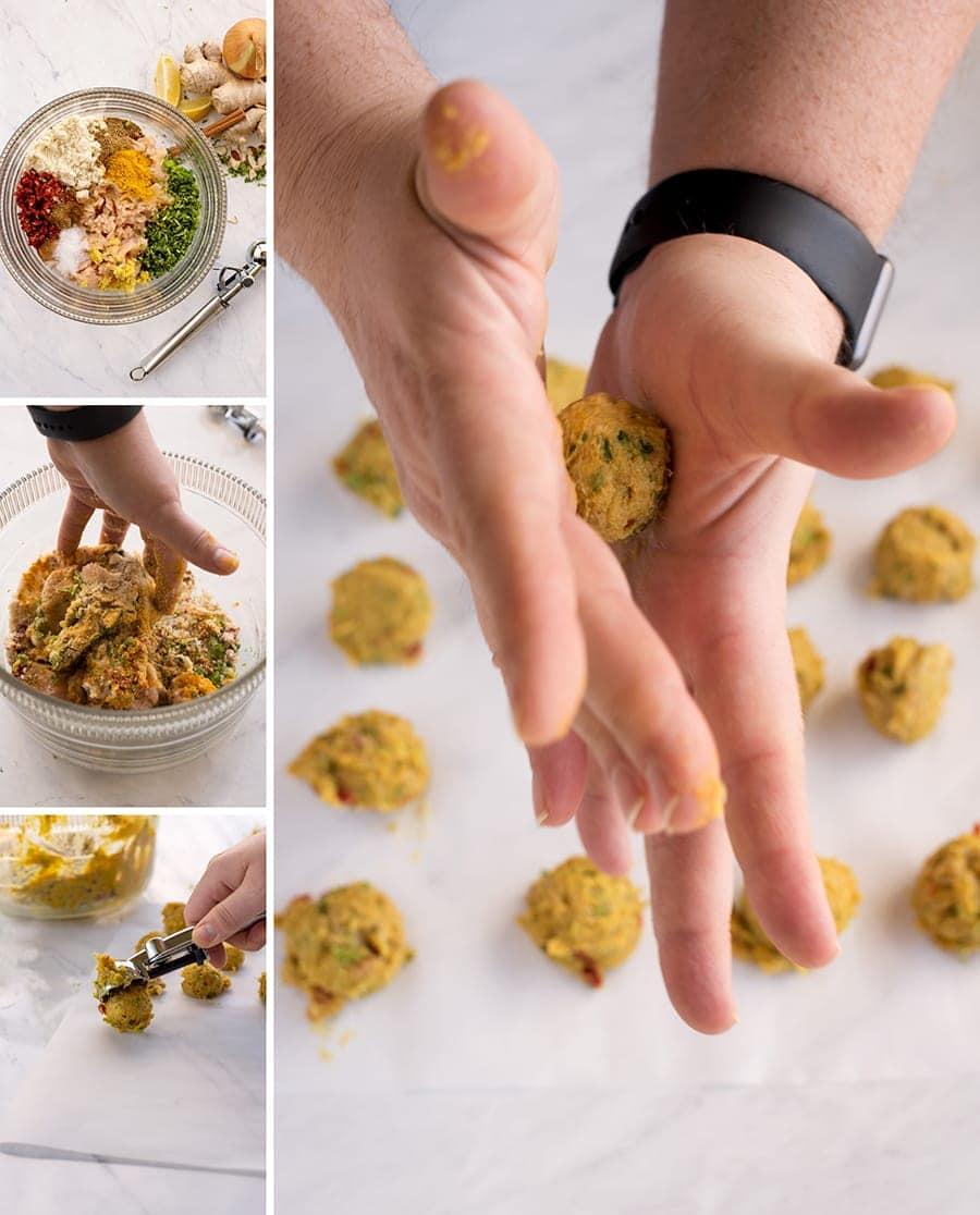 rolling butter chicken meatballs