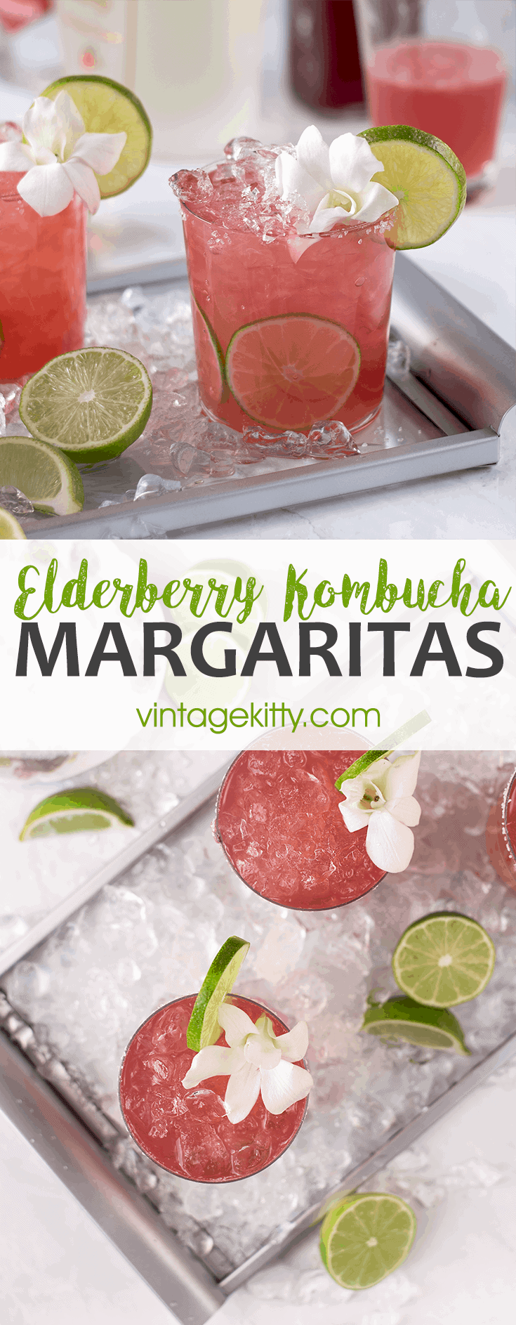 Why not give an anti-viral, probiotic boost to your cocktail hour? Kombucha Margaritas are the newest twist on the classic cocktail! Fizzy, sweet and sour! #kombucha #margaritas #cocktails #cocktailhour