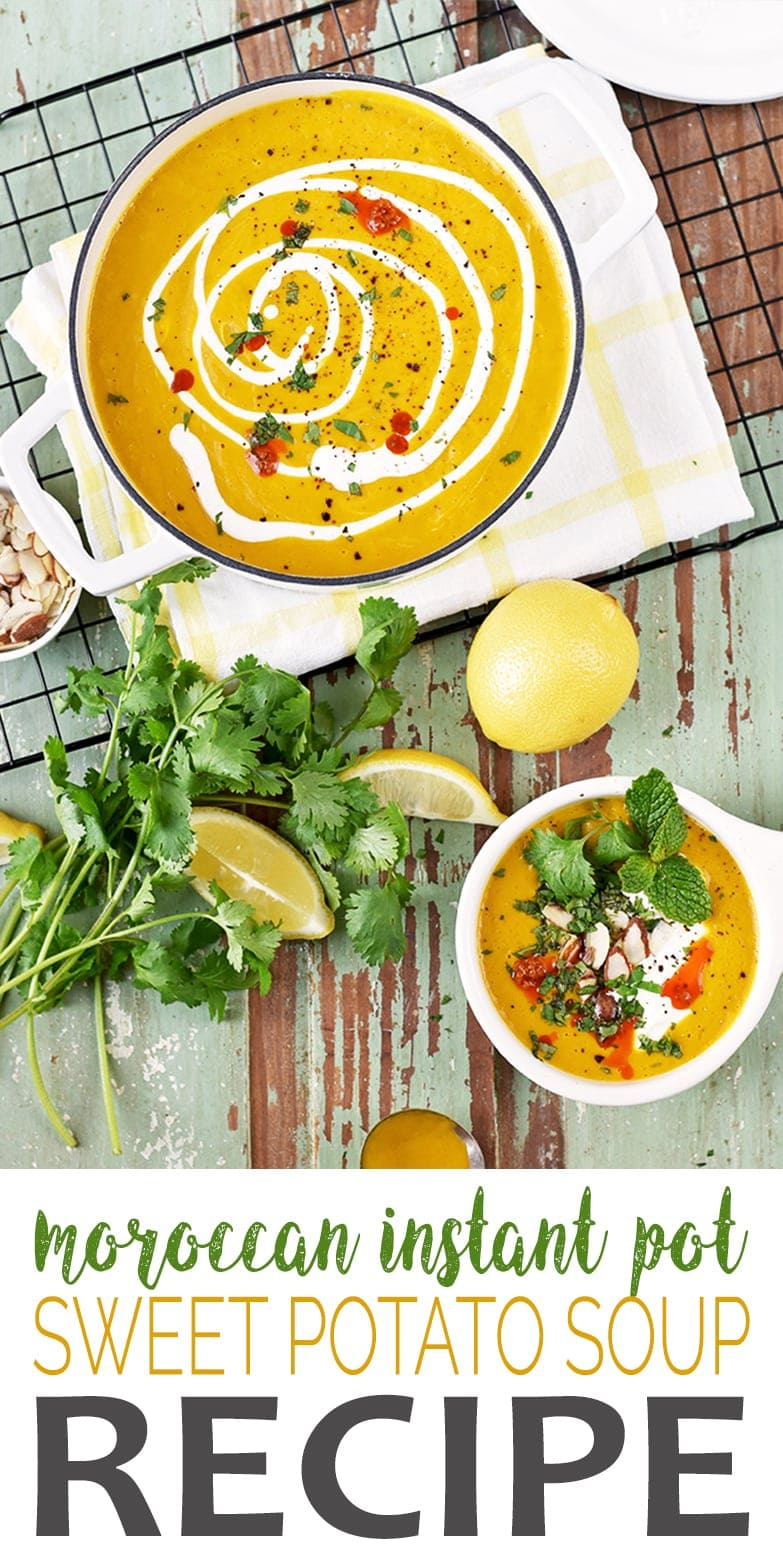 All the flavor in about half the time! Our Moroccan Pot Sweet Potato Soup is made in the Instant Pot for an easy weeknight dinner. We've topped it with a minty herb mix and harissa for bold, low calorie flavor. #instantpot #soup #healthy #sweetpotato #vegan #vegetarian