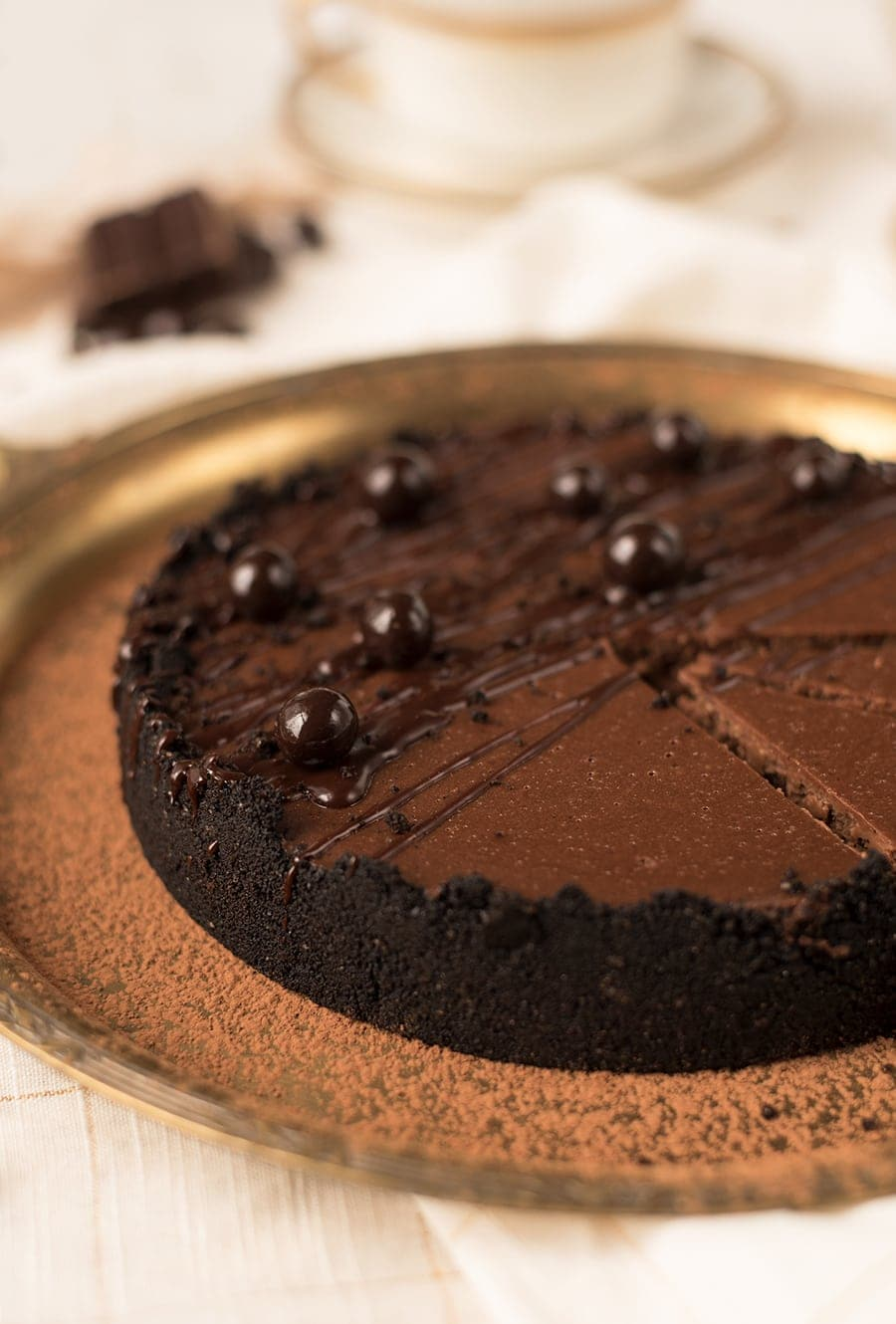 Instant Pot Chocolate Espresso Cheesecake 8753 Web - Instant Pot Chocolate Cheesecake with Espresso Beans and Oreo Crust