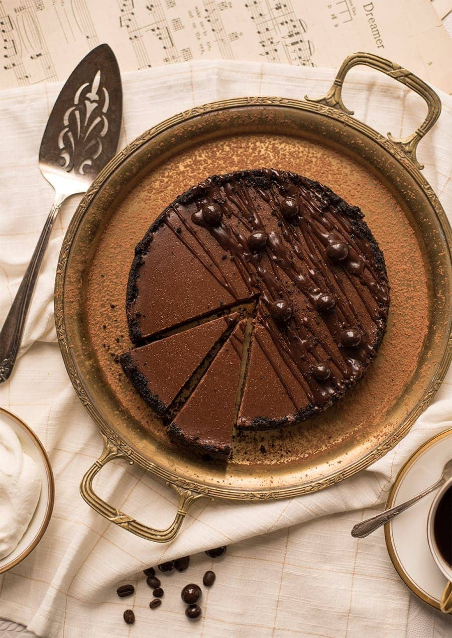 Instant Pot Chocolate Espresso Cheesecake 8780 Web - Instant Pot Chocolate Cheesecake with Espresso Beans and Oreo Crust