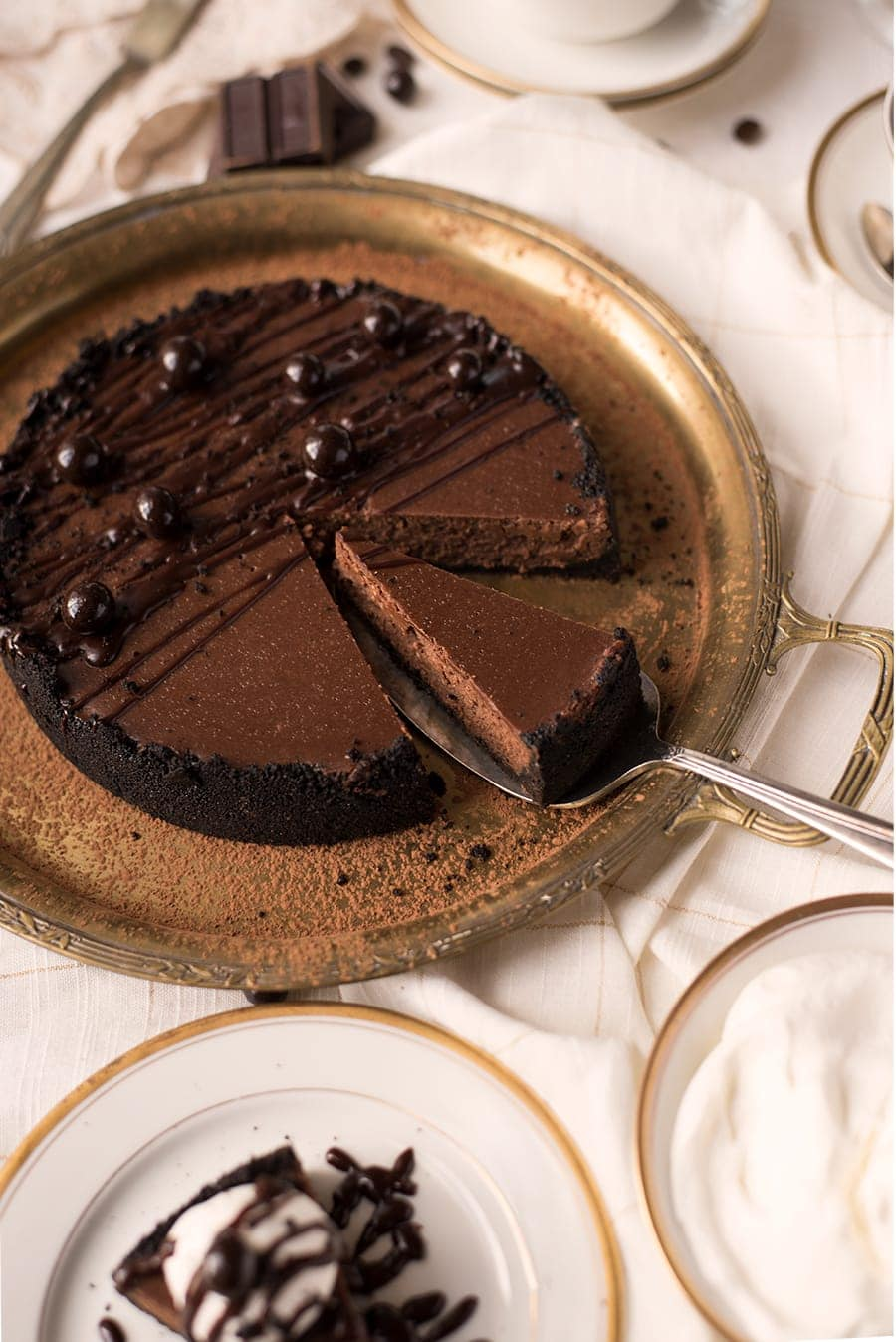 Instant Pot Chocolate Espresso Cheesecake 8868 Web - Instant Pot Chocolate Cheesecake with Espresso Beans and Oreo Crust