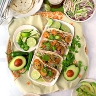 Tequila Shrimp Tacos with Jicama Cucumber Slaw