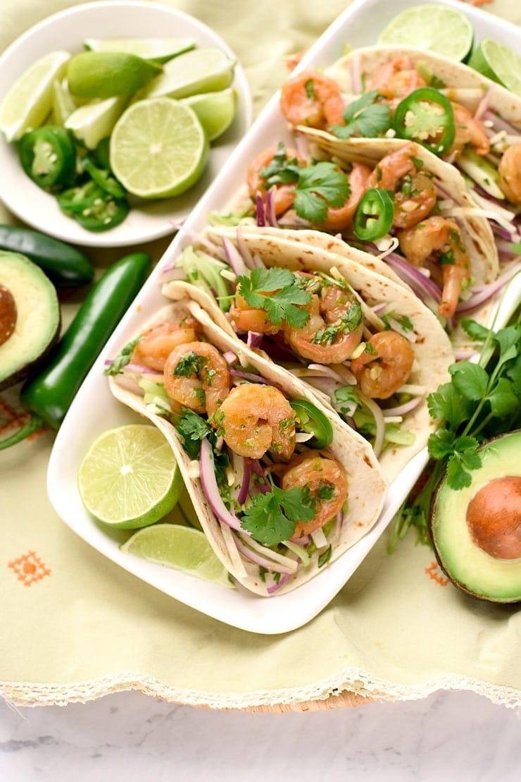 Tequila Shrimp Tacos 9151 Web - Tequila Shrimp Tacos with Jicama Cucumber Slaw