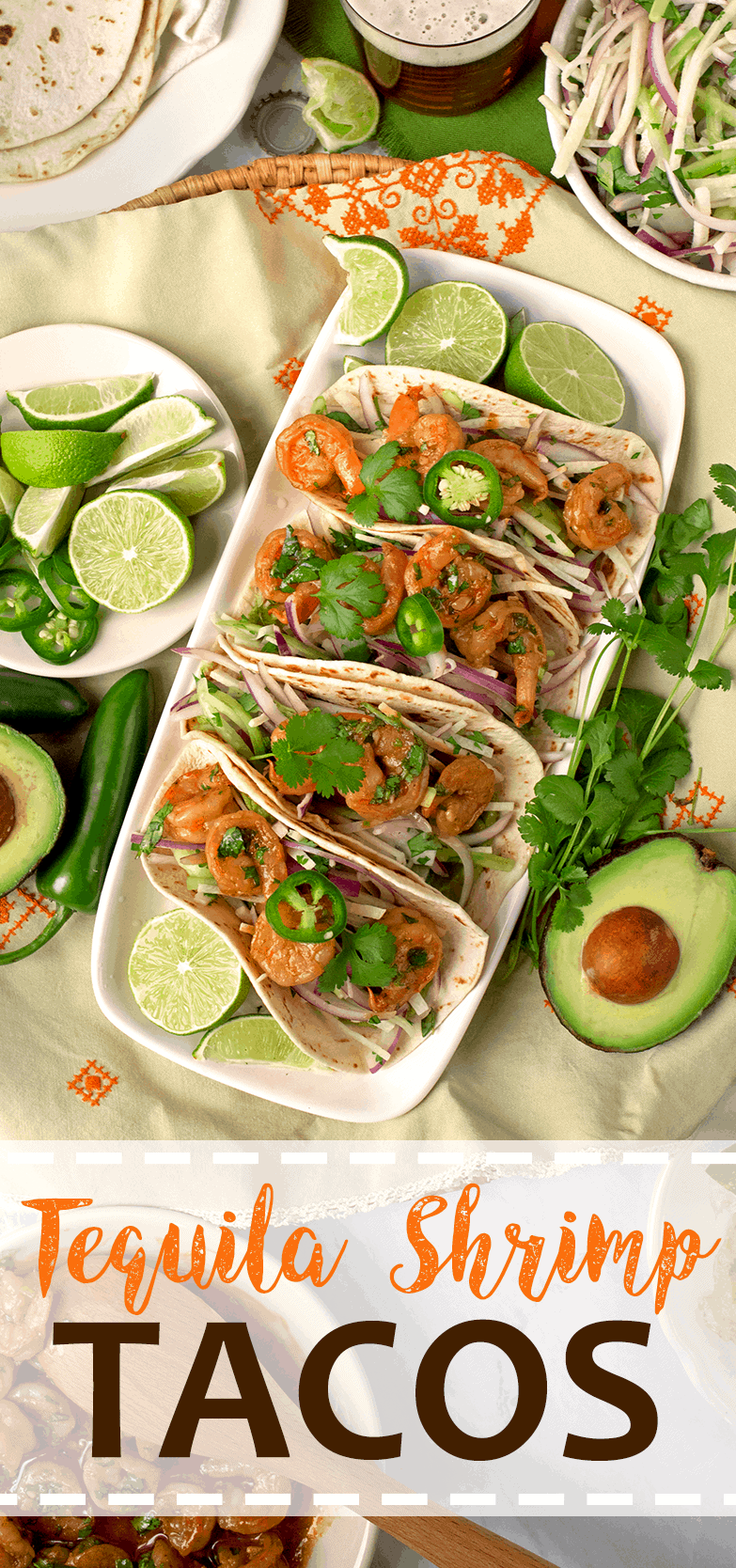 Tequila Shrimp Tacos Pin - Tequila Shrimp Tacos with Jicama Cucumber Slaw