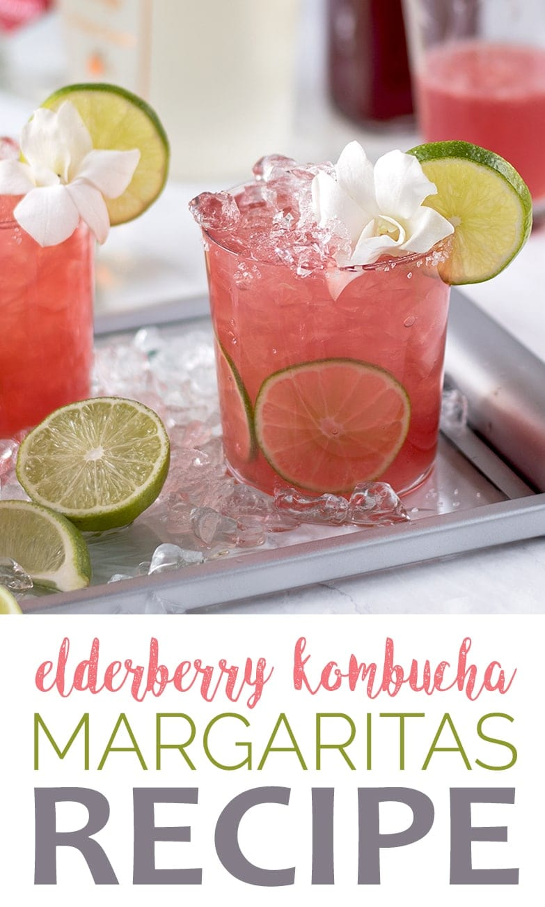 Why not give an anti-viral, probiotic boost to your cocktail hour? Kombucha Margaritas are the newest twist on the classic cocktail! Fizzy, sweet and sour! #kombucha #margaritas #cocktails #cocktailhour #probiotic #happyhour