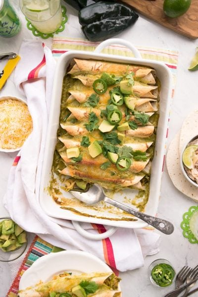 Chicken Enchiladas 0172 Web 400x600 - Poblano Sour Cream Chicken Enchiladas