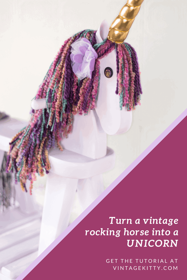 Give a vintage rocking horse a new lease on life by turning it into a unicorn! With this vintage rocking horse makeover, we turn a discarded toy into a magical playtime adventure. You won't need mythical skills to achieve the same results. See how we did it! #beforeandafter #diy #rockinghorse #unicorn #makeover