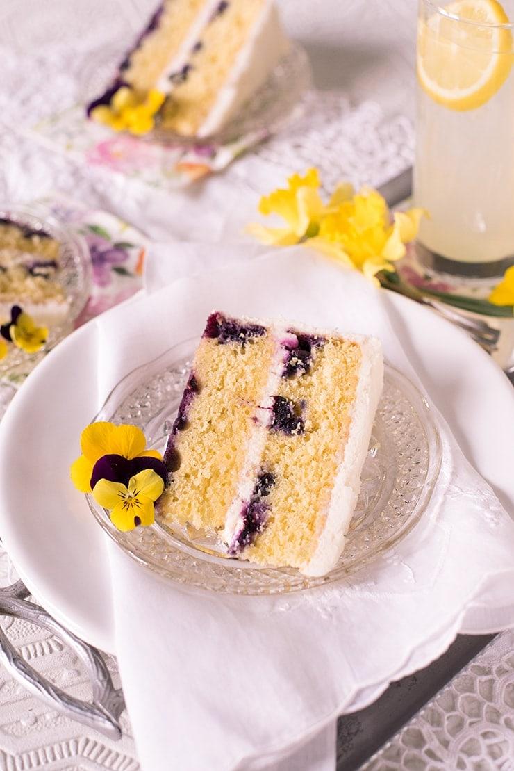 Lemon Blueberry Cake 9968 Web - Champagne Lemon Blueberry Cake with Cream Cheese Frosting