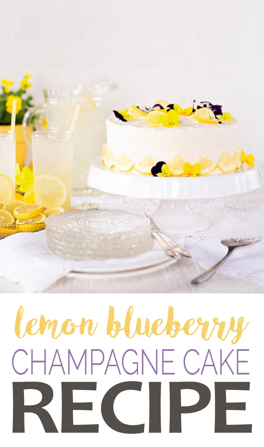 Lemon Blueberry Champagne Cake Pin - Champagne Lemon Blueberry Cake with Cream Cheese Frosting