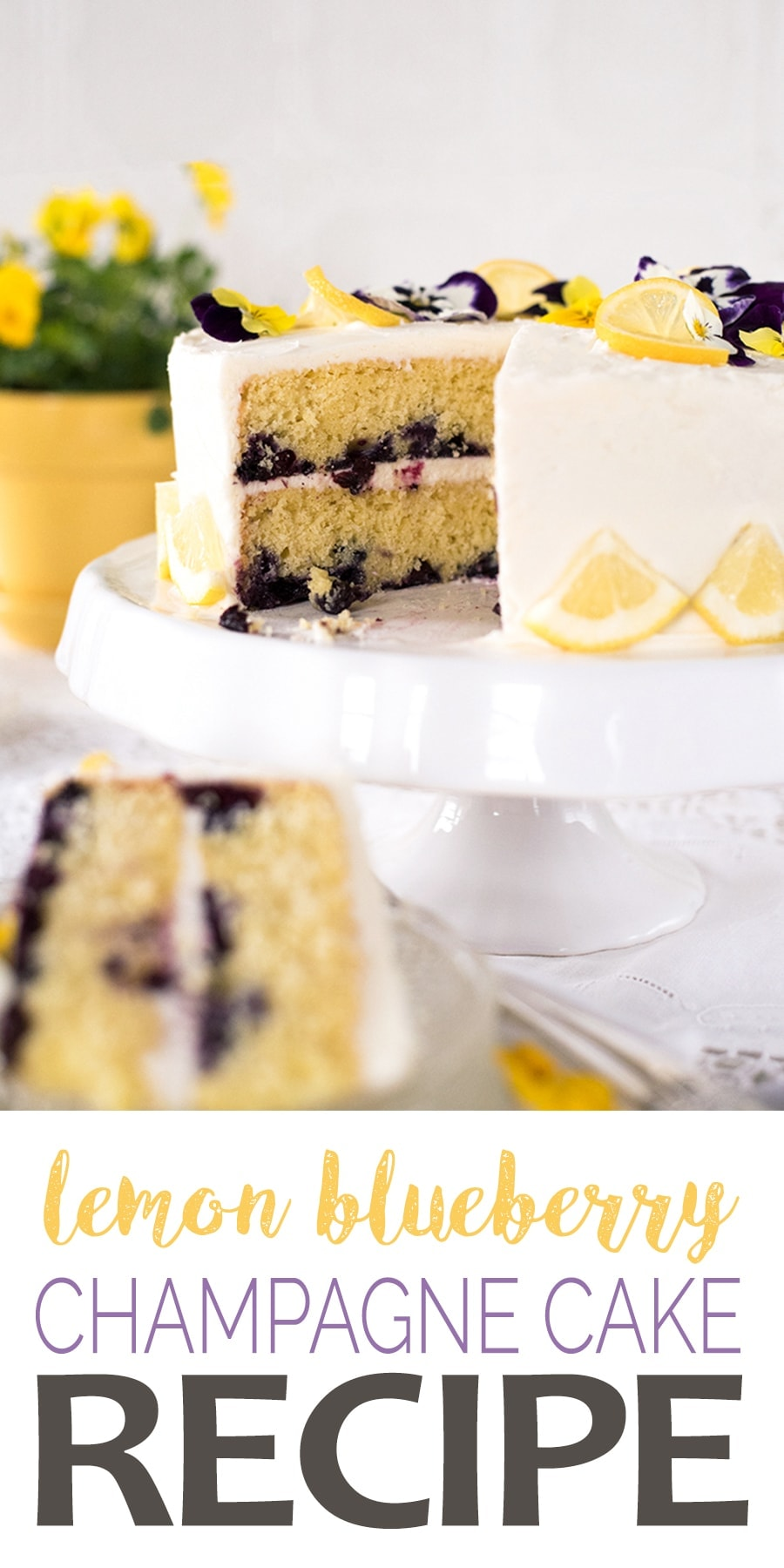 Lemon Blueberry Champagne Cake - Champagne Lemon Blueberry Cake with Cream Cheese Frosting