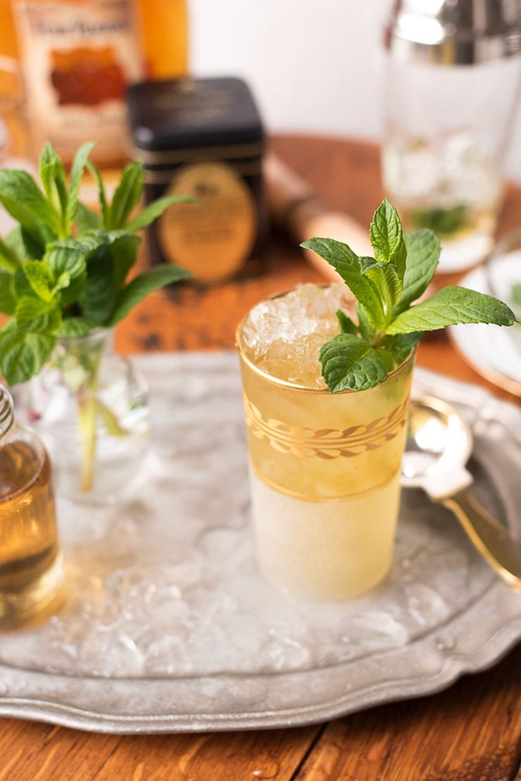 closeup of a mint julep on a silver tray