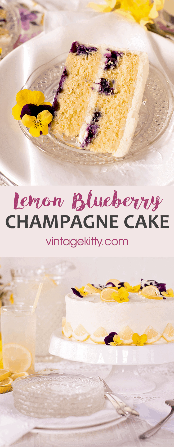 Pin Lemon Blueberry Cake  - Champagne Lemon Blueberry Cake with Cream Cheese Frosting