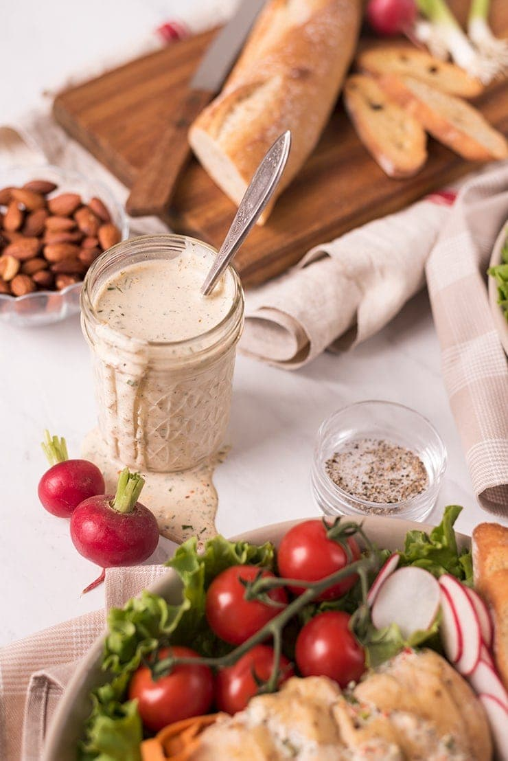 mason jar filled with homemade ranch dressing