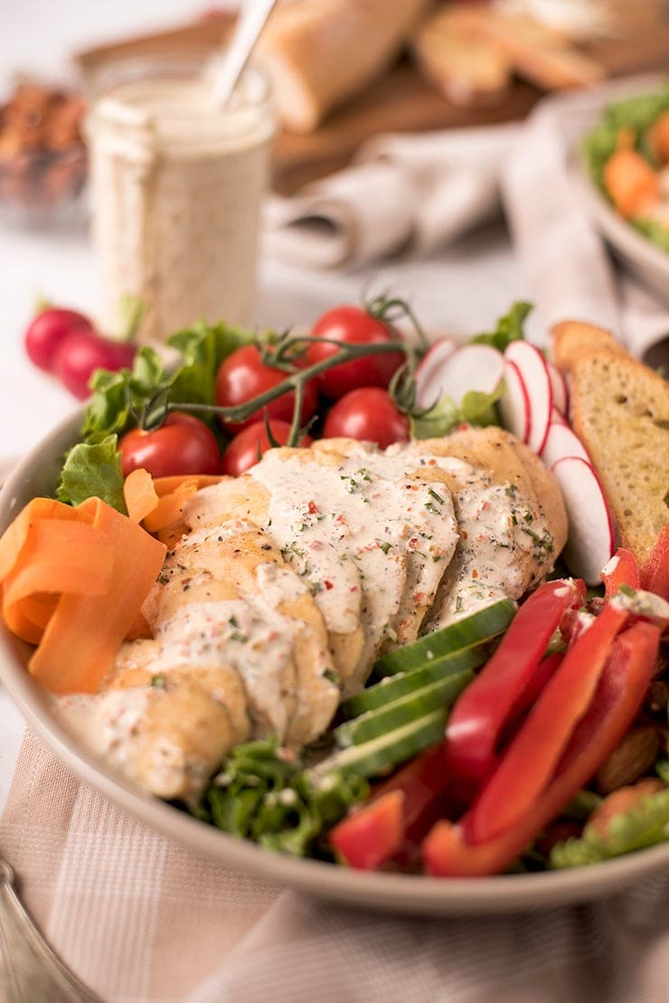 Salad with chicken and ranch dressing