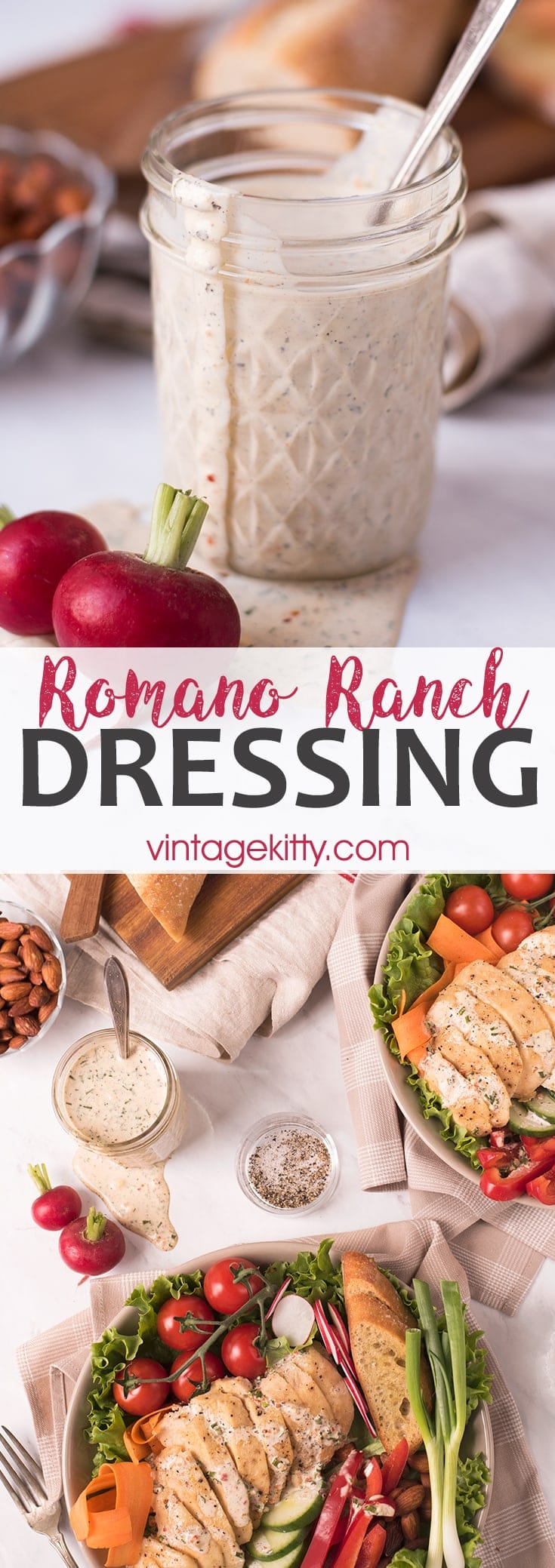 Walk right by that salad dressing aisle! Dried herbs and spices make this ranch dressing recipe a breeze to make! Plus it's great on EVERYTHING! #ranchdressing #saladdressing #salad #romanocheese