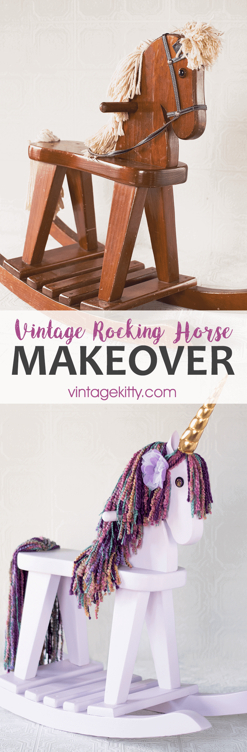 Rocking Horse Makeover Unicorn Pin - Vintage Rocking Horse Makeover into a Unicorn