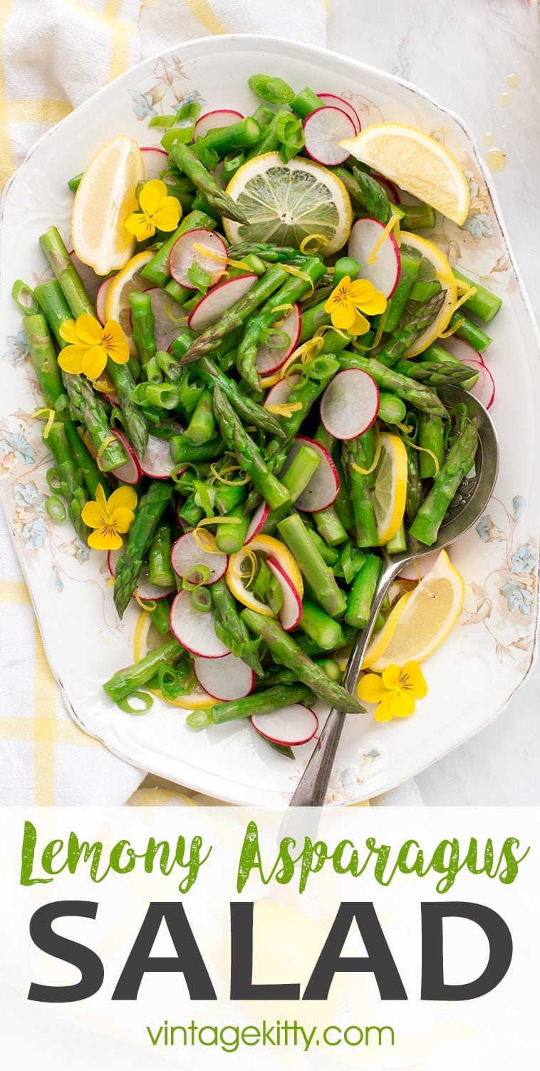 This asparagus salad features crunchy radish slices and a homemade lemon vinaigrette. It's an easy side dish for any occasion, from busy weeknight dinners to springtime barbecues. Salads don't get any prettier than this! #asparagus #radish #salad #sidedish #lemonvinaigrette #memorialday #fathersday #picnic #vegetarian #vegan #healthysalad