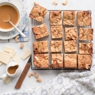Salted Caramel Blondies with White Chocolate and Cashews