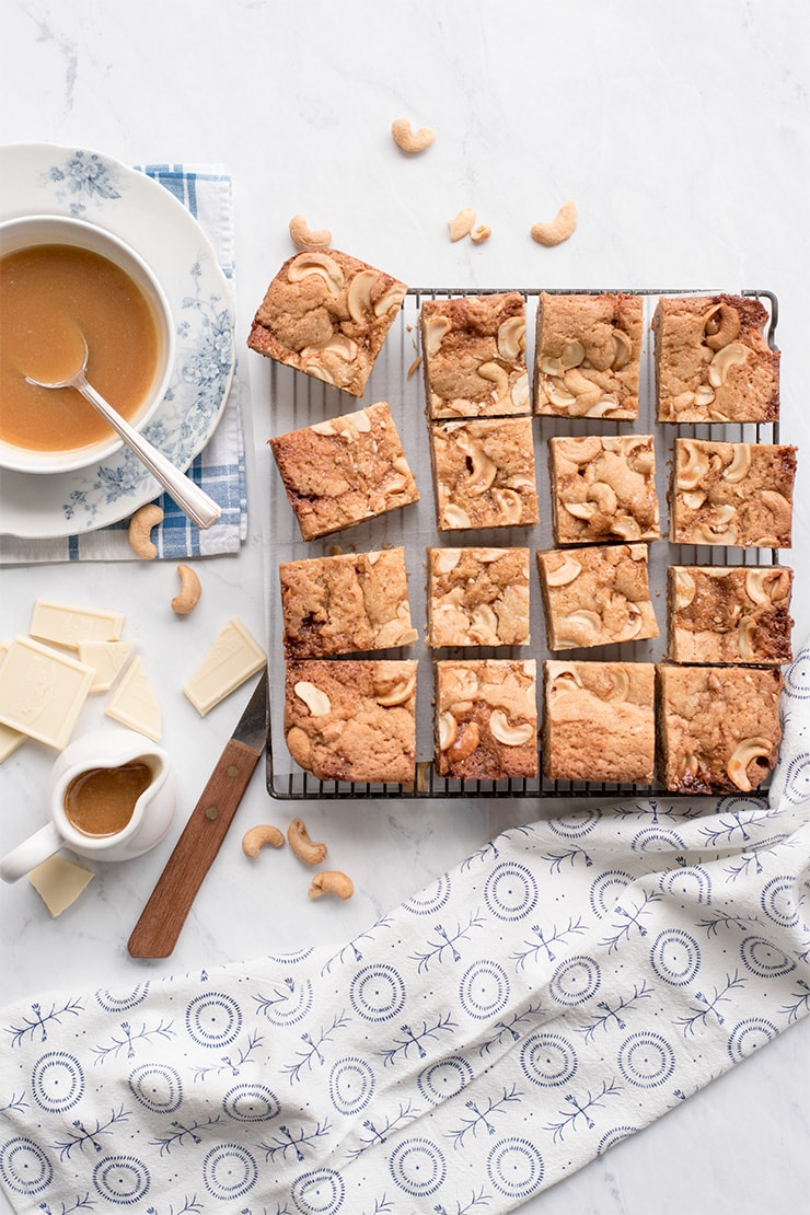 Caramel Blondies 0773 Web - Salted Caramel Blondies with White Chocolate and Cashews