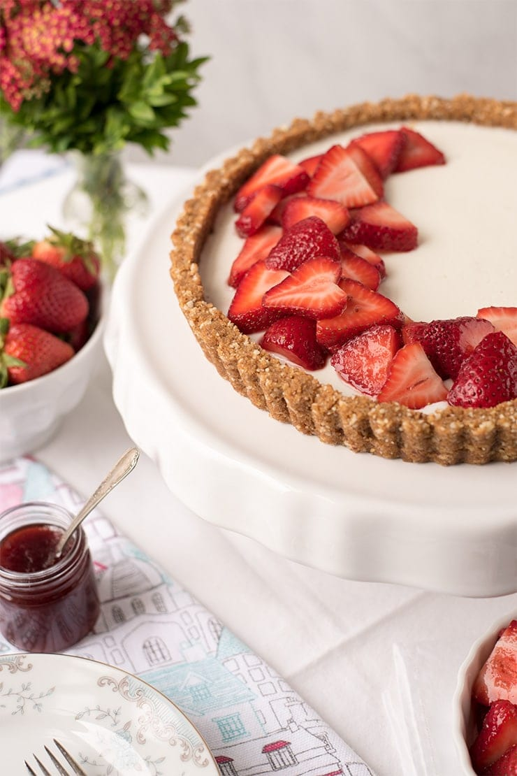 strawberries on tart