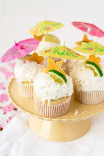 Tropical Coconut Cupcakes 1383 Cropped Web 400x600 - Tropical Coconut Cupcakes with Mango Curd and Coconut Buttercream