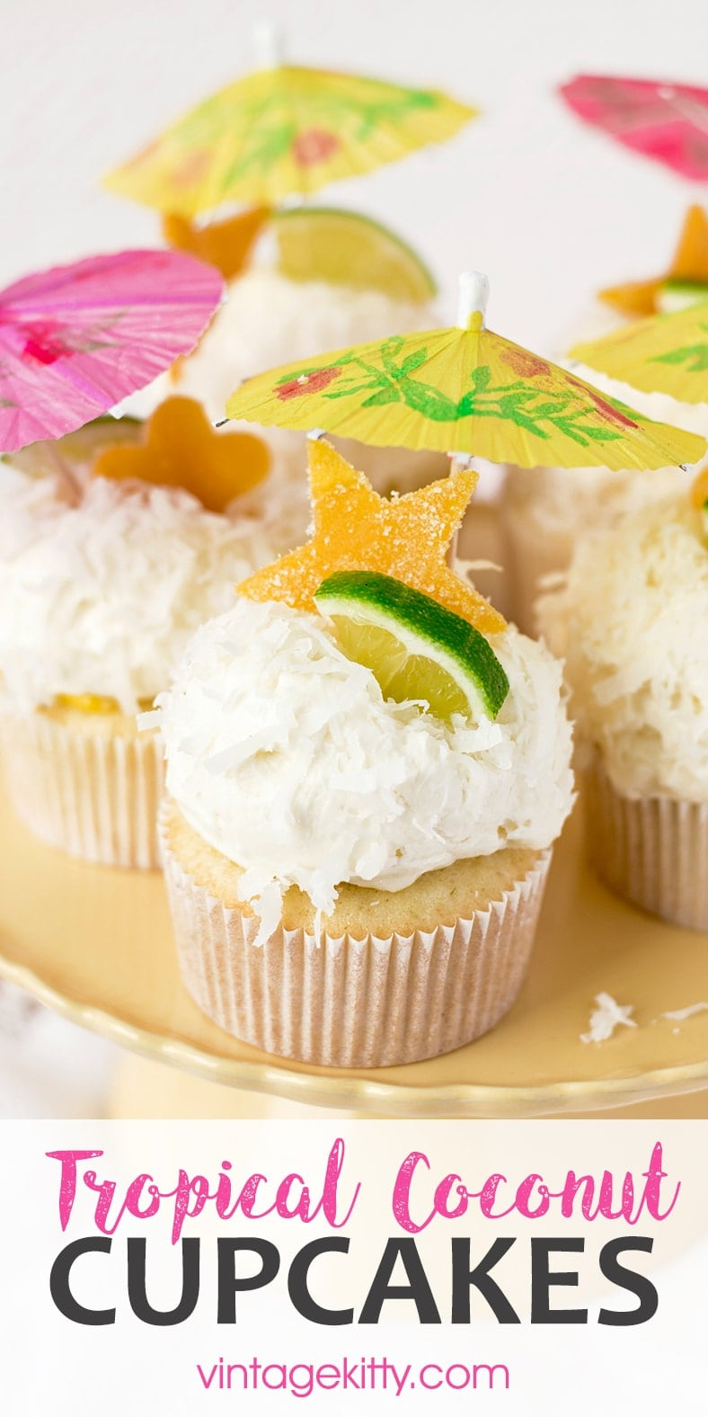 Tropical Coconut Cupcakes Pin 2 - Tropical Coconut Cupcakes with Mango Curd and Coconut Buttercream