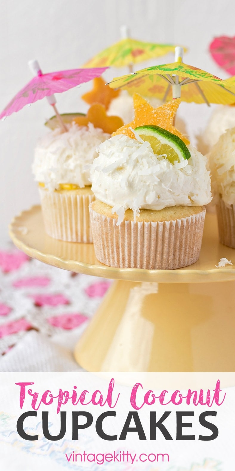 Ideal for parties and special occasions, this recipe for tropical coconut cupcakes is a warm weather treat! They have all the flavors of summer in a pretty snowy cupcake! #coconutcupcakes #summertreats #tropical #coconutbuttercream #cupcakes