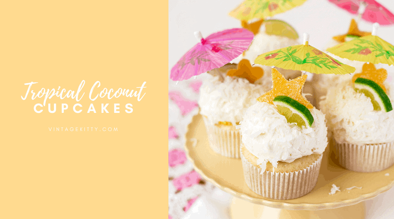 Tropical Coconut Cupcakes with Mango Curd and Coconut Buttercream