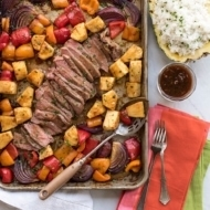 Hawaiian Steak Sheet Pan Dinner