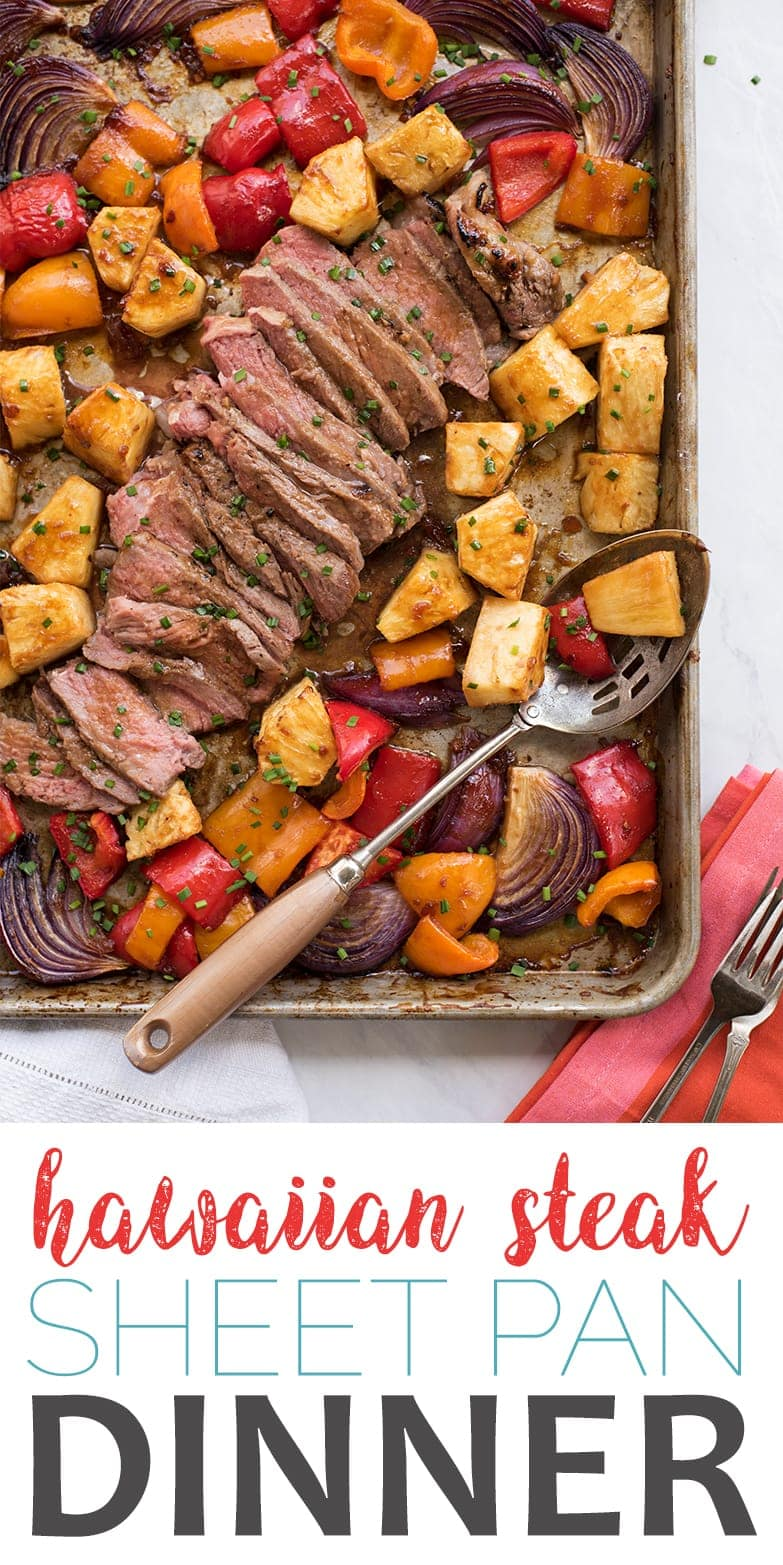 Discover how to make this easy Hawaiian Steak Sheet Pan Dinner that's cooked perfectly every time! Great for meal prep and busy weeknights! #sheetpandinner #hawaiiansteak #pineapple #mealprep #weeknightdinner #sheetpanrecipes