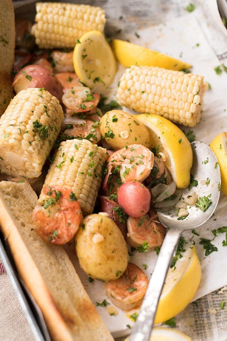 This easy weeknight shrimp boil is an ideal one-pot meal! Scaled for four people, this family dinner recipe will bring summer fun to your busy weekday schedule.